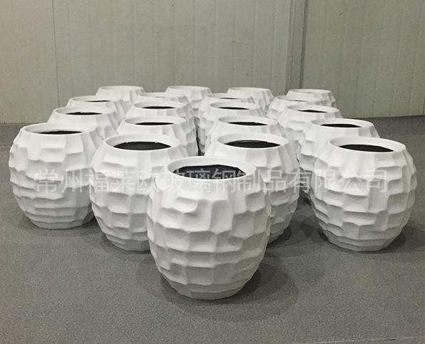 白色球星玻璃钢花盆